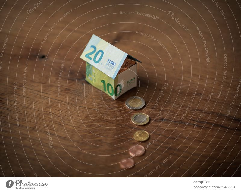 A house made of euro notes and coins Property dwell real estate House (Residential Structure) Town Rich Luxury Bank note Paper Banknotes House building