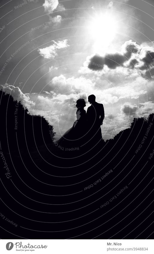 lovers Romance Together Happy Love Married couple Harmonious Lovers Silhouette Sympathy Emotions Bride Bride groom Heavenly Wedding couple Sky Clouds Dress