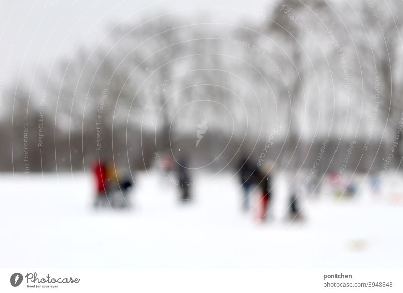 Dream sequence. Blurred people in groups in the snow. Winter. Snow Families Trip Groups winter clothes AND SHARPNESS Stand White Cold Wait Winter sports