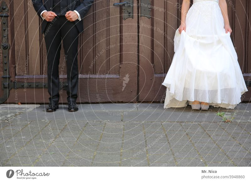 Marriage with distance Feasts & Celebrations Couple Suit Dress Man Woman Partner 2 Stand Love Bride Bride groom Wedding couple Side by side Wedding dress