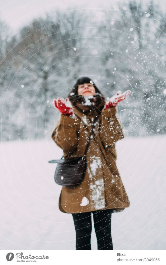 In love with snow in winter - A young woman stands in the snow and laughs with joy Snow Joy Winter Woman Laughter Brunette Joie de vivre (Vitality) Snowscape