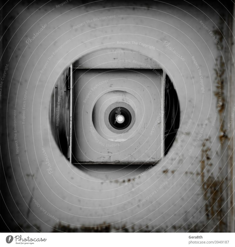 round holes in the metal construction in perspective abstract background abstraction abstraction pattern black circle circles dirty geometric gray gray circle