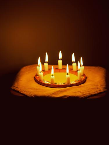 Candle wreath in a dark room. Burning candles in a circle , candlelight , Candlelight Candle Circle Fire Candle flame Light Moody Round Illuminate Warmth Hope