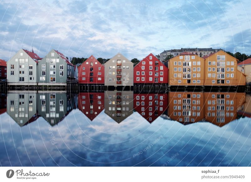 Travel - colorful houses in Trondheim, reflection on river trondheim norway water city tourism travel traditional colored norwegian scandinavia panorama
