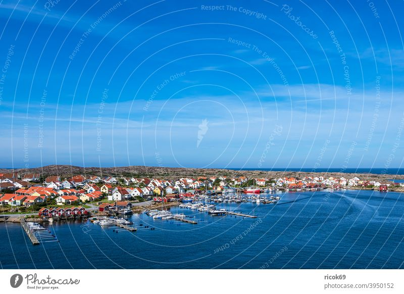 View of the village Smögen in Sweden archipelago archipelago garden Sotenäs Ocean coast North Sea Skagerrak Harbour boat ship Motorboat marina Sailboat