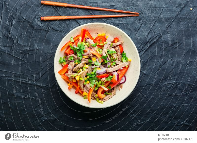 Asian salad with vegetables and meat meat salad tongue greens asian salad bell pepper beef corn asian food sticks veal tongue spring salad plate tomato diet