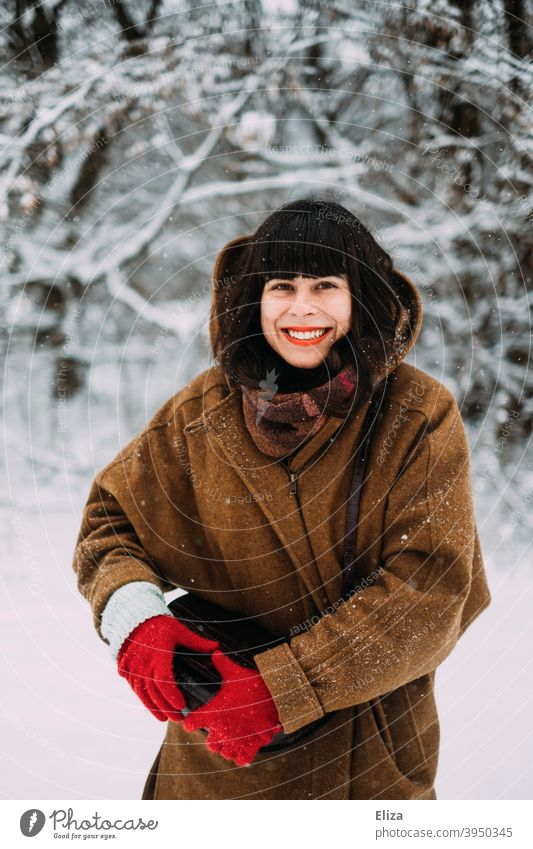 In love with snow in winter - A young woman stands in the snow and smiles with joy Snow Joy Winter Woman Laughter Brunette Joie de vivre (Vitality) Snowscape