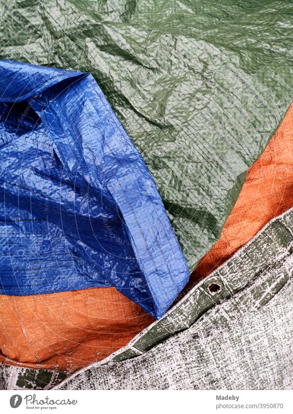 Waterproof tarp with structure and eyelets to cover in case of rain in green, blue and orange tarpaulin protective tarpaulin rain shelter Watertight ösen Blue