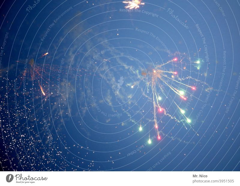 fireworks Night life New Year's Eve Feasts & Celebrations Party Firecracker Light Happy Joy Sky Multicoloured Smoke Spectacle good slide Explosion Ritual