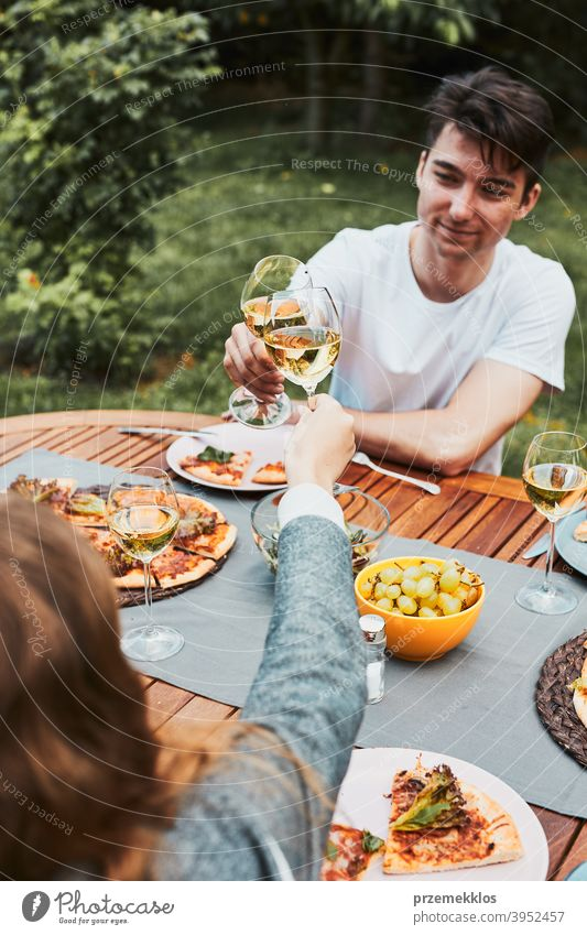 Friends making toast during summer picnic outdoor dinner in a home garden backyard beverage celebration dish drink eating family feast food friends fun