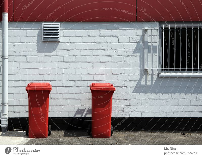 eat red-white Environment Building Wall (barrier) Wall (building) Window Red Trash container Refuse disposal Waste management Backyard Grating 2