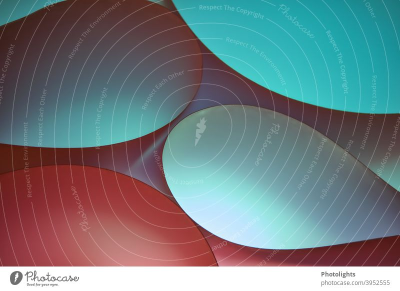Curved shapes in different colours Red Paper Round background Colour photo Studio shot Close-up Multicoloured Pattern Structures and shapes Abstract Graphic