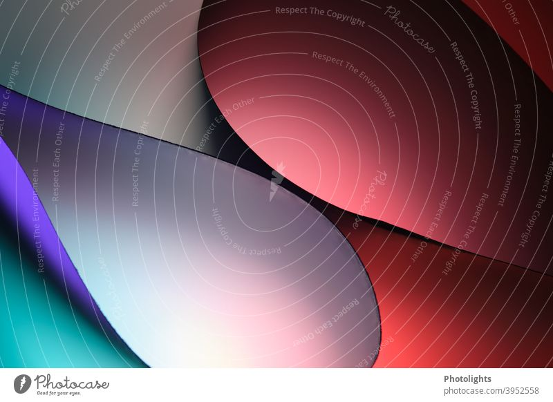 Curved shapes in different colours Red Blue Violet Paper Round background Colour photo Studio shot Close-up Multicoloured Pattern Structures and shapes Abstract