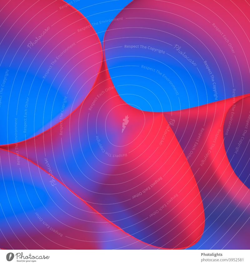 Red lines on blue background shape Curved Blue Violet Paper Round Colour photo Studio shot Close-up Multicoloured Pattern Structures and shapes Abstract Graphic