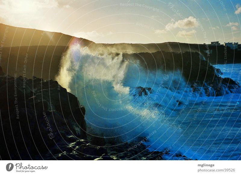surf Ocean White crest Waves Lanzarote Surf Steep Coast Sunset Swell Europe Evening Island Rock Drops of water