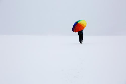 Somewhere in nowhere Schauinsland Freiburg Woman by oneself Lonely Winter Snow wide off variegated Umbrella colored Going Cold stroll obscure White icily void