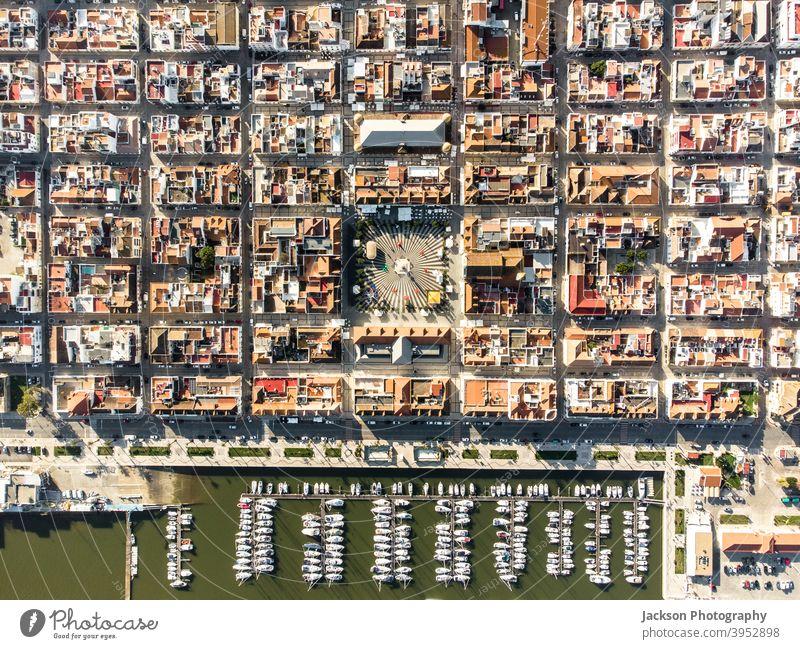 Aerial view of Vila Real de Santo Antonio, south of Portugal city town urban aerial vila real de santo antonio above aerial view algarve architecture border