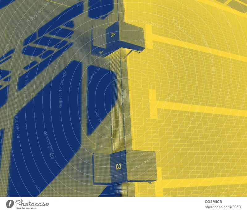 yellowlight Swimming pool Yellow Architecture alienated Blue