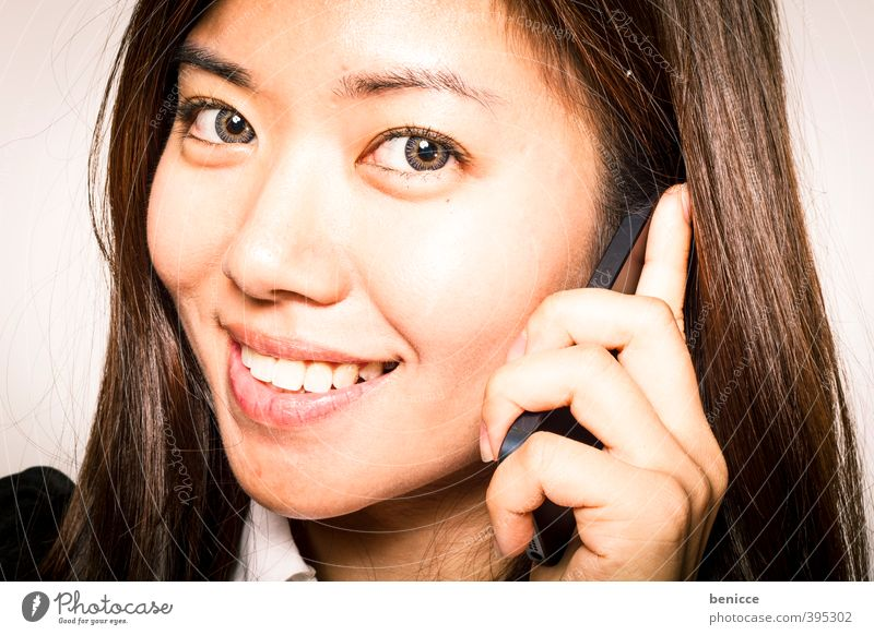 Hello Woman Human being Telephone Cellphone Smiling Looking into the camera Teeth iPhone Asians Chinese Business Businesswoman Close-up Workshop Isolated Image