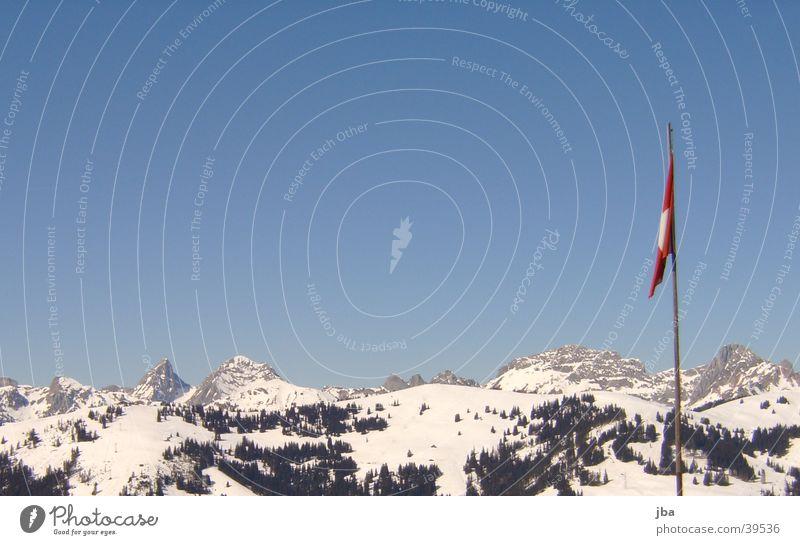 Sky Blue Mountain Air Large Flag Switzerland Saanenland Gstaad