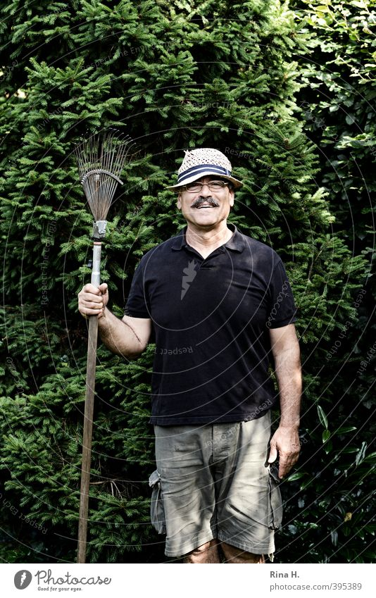 Let's see what a rake is. Gardening Man Adults 1 Human being 60 years and older Senior citizen Nature Summer Beautiful weather Tree Fir tree Shirt Shorts Hat