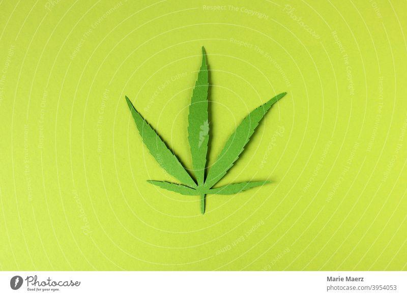 Hemp leaf - paper illustration on green background Plant Leaf Marijuana medicine Cannabis Green Medication Organic Hashish legalization Cannabis plant