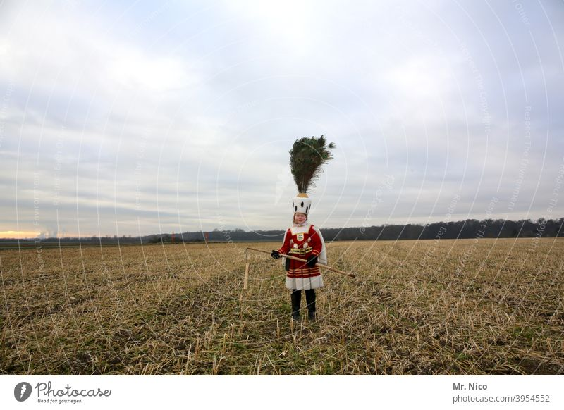 Farmer's wife Agriculture Nature peasant Harvest Field Landscape costumed Rural Stubble field Costume Sky triumvirate carnival Carnival cologne farmer flail