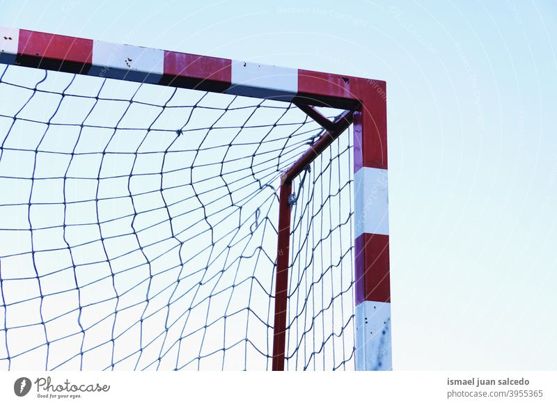 soccer goal sports equipment, street soccer in Bilbao city, Spain rope net web field soccer field play playing abandoned old park playground outdoors broken