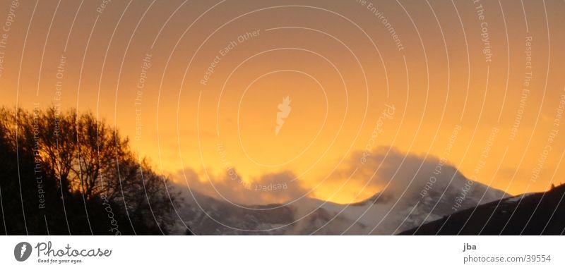 Evening orange_1 Sunset Clouds Gray Mountain Dusk Orange