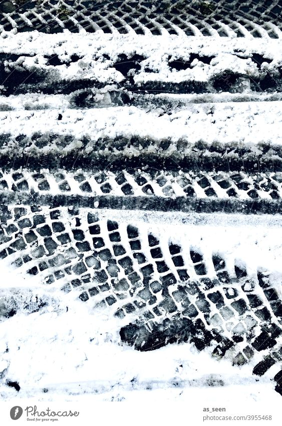 tire tracks in the snow Snow Tracks tyre track Winter Cold White Exterior shot Deserted Ice Frost Day Snow track Contrast Black & white photo Snow layer