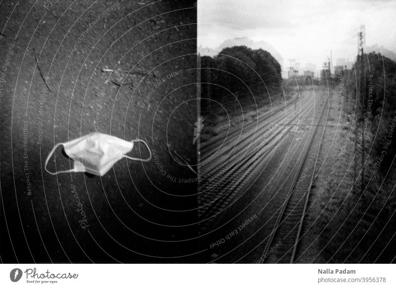 Cityscape Duet 2 Analog Analogue photo black-and-white Mask Nose to mouth coverage op-mask Ground Railroad tracks trees Bochum The Ruhr pandemic corona