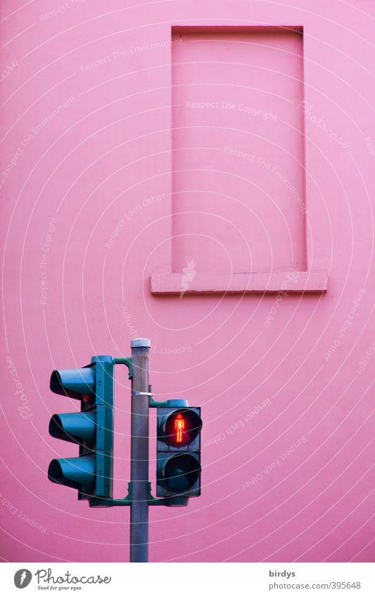 City Colour Wall (building) Wall (barrier) Exceptional Facade Pink Illuminate Wait Friendliness Safety Stop Traffic infrastructure Traffic light Pedestrian