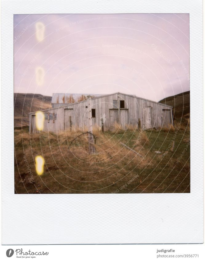 Icelandic house on Polaroid House (Residential Structure) Hut Flake Barn Wood door Window Entrance Loneliness Nature Deserted Building