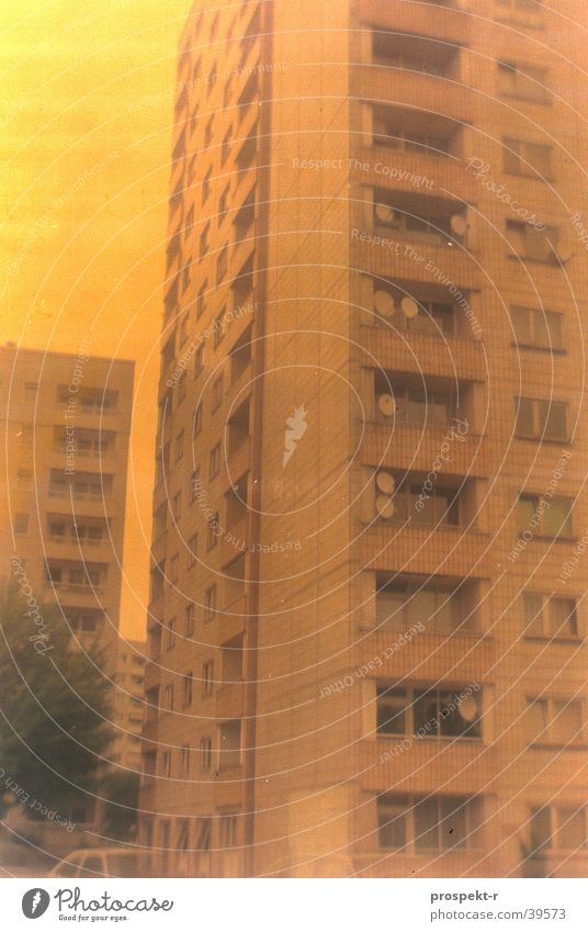Satellite City Antenna Block Tower block Dresden Colour error Long exposure Yellow Architecture Prefab construction