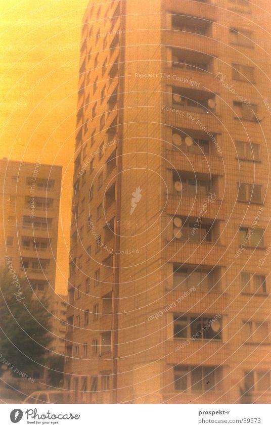 Satellite City Antenna Block Tower block Dresden Colour error Long exposure Yellow Architecture Prefab construction