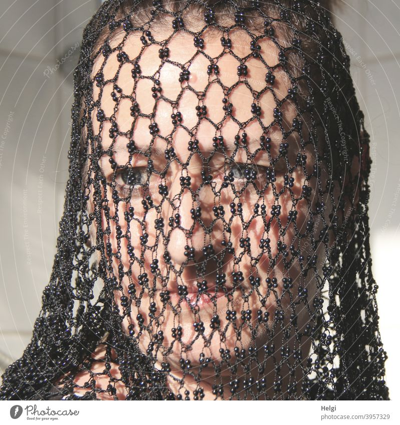 transparent - face of a woman covered with a black net Human being Woman Adults Head Face Net Network Protection Pattern structure Looking Timidity Mistrust