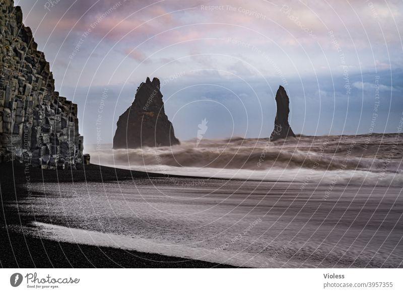 Rock needles at Vík beach rock needle Sky coast Dyrhólaey Lava Beach Iceland Waves Sunset Reynisfjall Vik