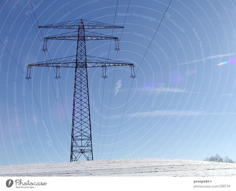 Electricity 03 White Hill Steel Electrical equipment Wire Cable Technology Energy industry Sky Sun Blue Snow Mountain Electronics