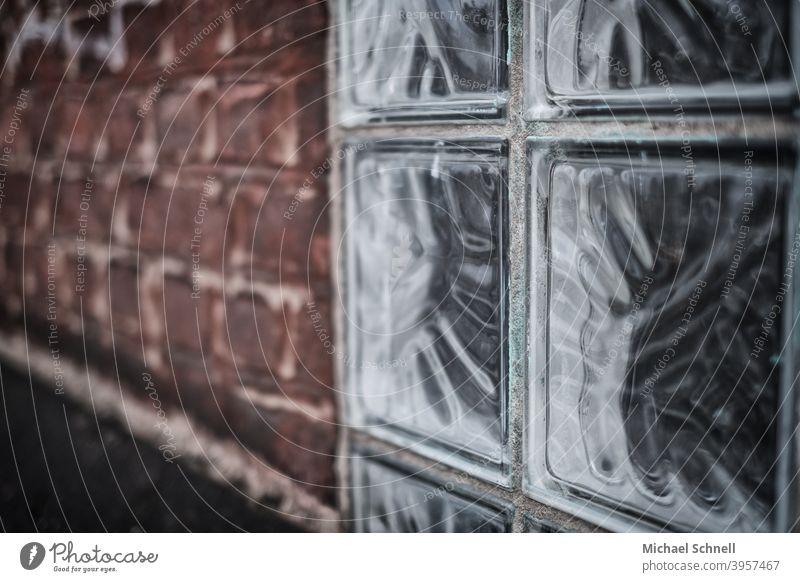 Glass construction and bricks house wall Glass blocks Red Brick Brick wall Brick facade Old Old fashioned