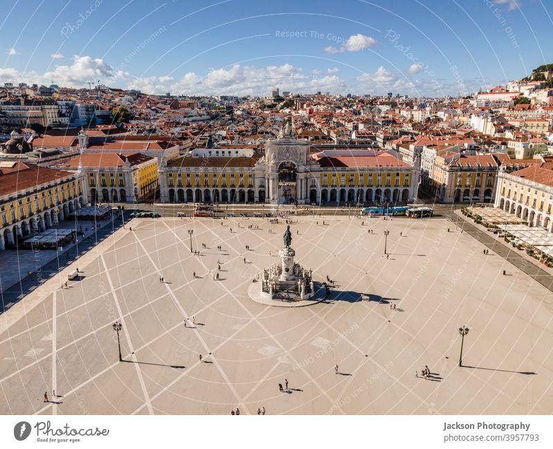 Commerce Square in center of Lisbon, Portugal portugal lisbon aerial square commerce square urban city praca do comercio triumphal arch baixa classic touristic