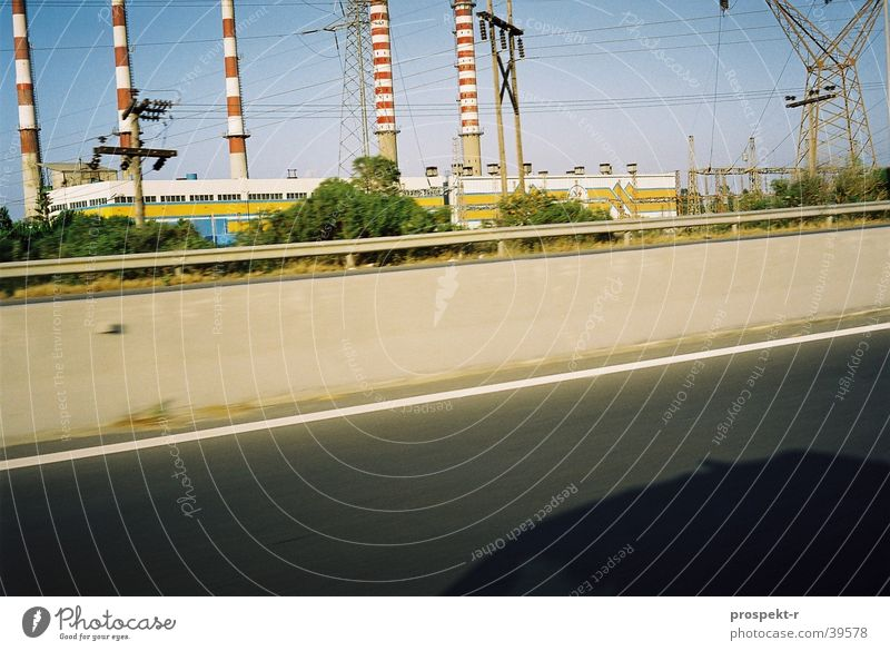 Blue Street Car Transport Energy industry Electricity Places Cable Chimney Crane Snapshot Crete
