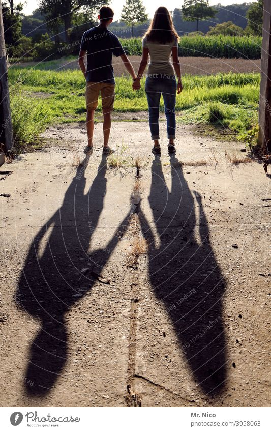 couple in love looks out into the landscape Silhouette Love Love affair Couple Together Infatuation Lovers Shadow Harmonious Affection Happy Related hold hands
