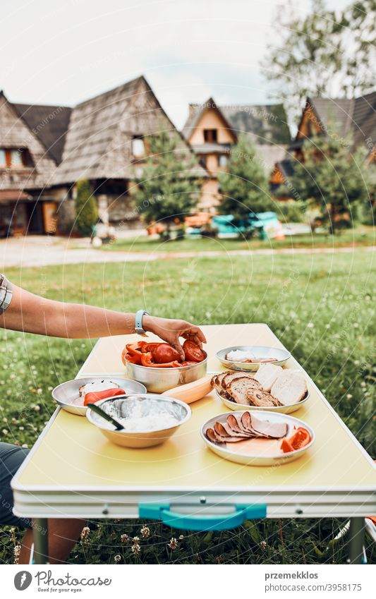 Breakfast prepared during summer vacation on camping authentic real banana cooked meat slow living outdoor table setting outdoor activities outdoor equipment