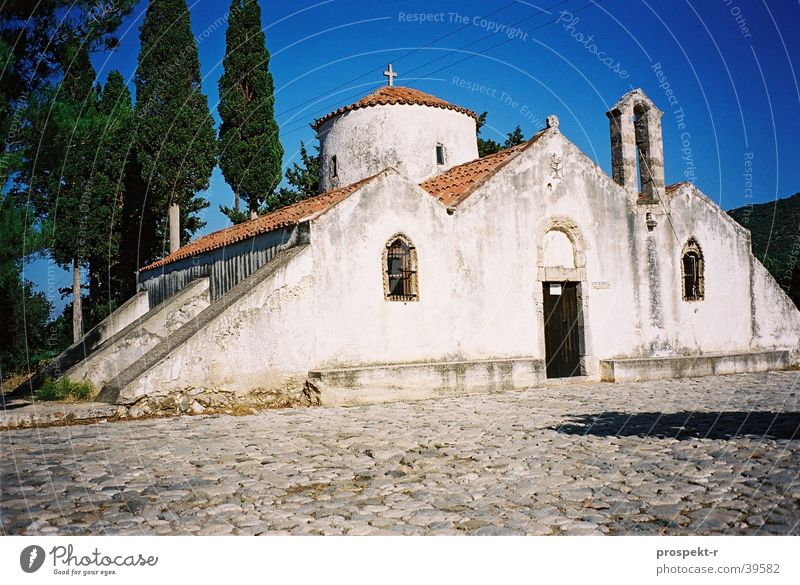 Beautiful Sky White Blue Religion and faith Europe Historic Cobblestones Greece Crete