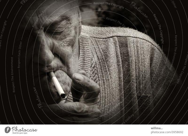 If you seek habit, addiction quickly becomes habit. Smoking Senior citizen Cigarette smoking Old man Ignite portrait Nicotine luxury food Addiction Harmful