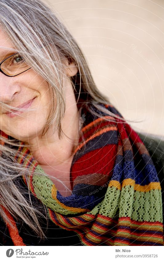 half portrait with scarf Accessory Scarf Face Feminine Woman Hair and hairstyles Gray-haired Eyeglasses wisp Skin Fashion naturally Serene Expression