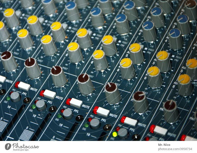 mixer Controller Disc jockey Mixing desk Loud Yellow Tone Music Push Sound Recording studio Hi-fi Volume amp Sound engineering sound recording Event technology