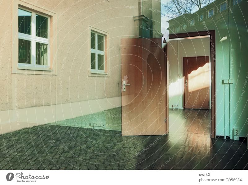 picture puzzle Detail Wall (building) Facade Wall (barrier) House (Residential Structure) Manmade structures Building Exterior shot Colour photo Window door