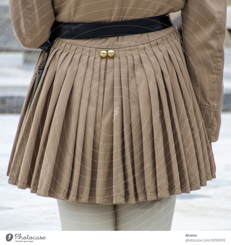 Contemporary history | traditionally dressed Uniform Honor Guard Skirt Greek skirt Soldier awake Man masculine Tradition Greece Back garments uniformed Athens