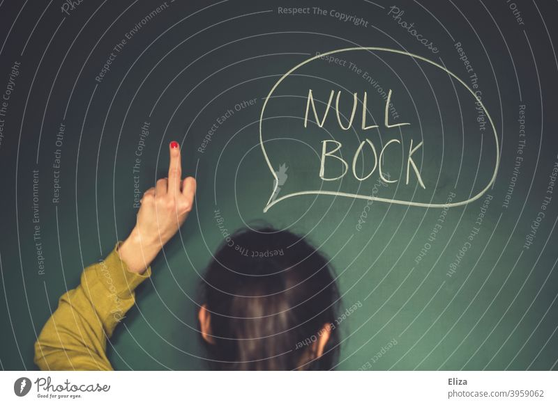 Zero Bock Attitude. An unmotivated woman expresses unwillingness and shows the middle finger. Couldn't give a damn Reluctance Woman Girl School Speech bubble